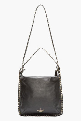 Valentino Black Studded Leather Rockstud Tote