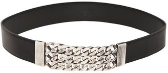 Saint Laurent 35mm Leather Belt With Frontal Chain
