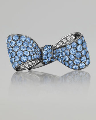 Mimi So Bow Medium Size 18k Oxidized Gold Sapphire & Diamond Ring