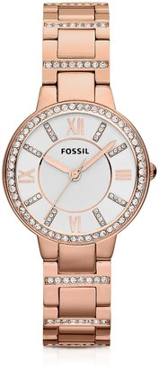 Fossil Virginia Three Hand Rose Golden Stainless Steel Women's Watch $129 thestylecure.com
