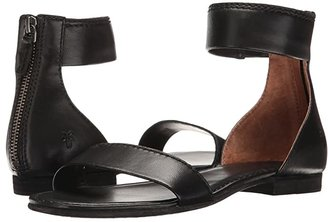 Frye Carson Ankle Zip (Black Soft Nappa Lamb) Women's Sandals