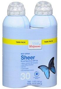 Walgreens Sheer Mist Spray Sunscreen, SPF 30