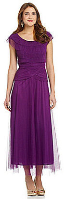 Patra Cap-Sleeve Pleated Gown