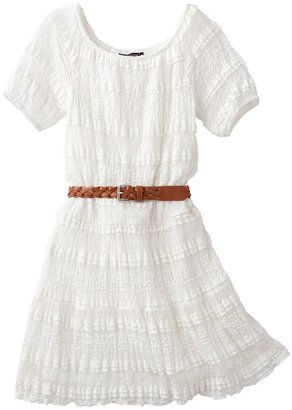 My Michelle lace drop-waist belted peasant dress - girls 7-16