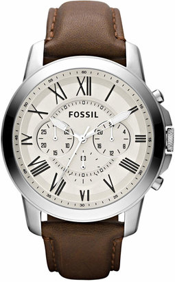 Fossil Men's Chronograph Grant Brown Leather Strap Watch 44mm FS4735 $115 thestylecure.com