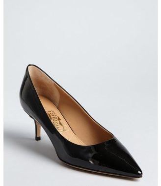 Salvatore Ferragamo black patent leather 'Susi' point toe pumps