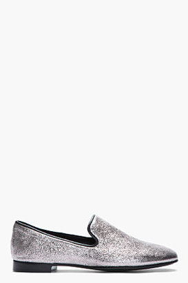 Giuseppe Zanotti Silver Crinkled leather Kevin 10 loafers