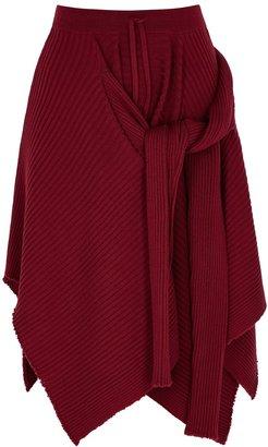 Marques Almeida Dark Red Merino Wool Skirt