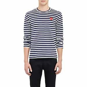 Comme des Garcons Men's Heart Striped Long-Sleeve T-Shirt - Black