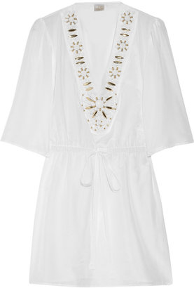 Milly Bead-embellished cotton and silk-blend tunic