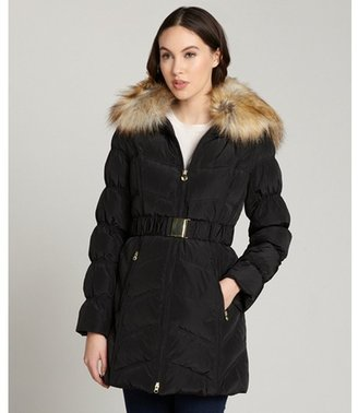 Laundry by Shelli Segal black belted three quarter coat removable faux fur trim collar coat