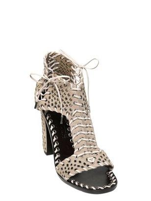Salvatore Ferragamo 110mm Sharon Eyelets Suede Ankle Sandals