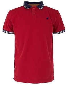 more for kids Red Tipped Pique Polo