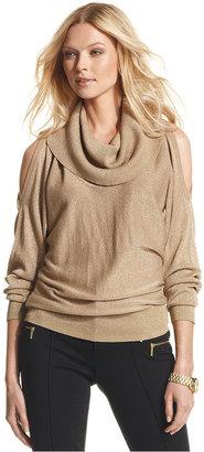 MICHAEL Michael Kors Sweater, Long-Sleeve Metallic Cowl-Neck