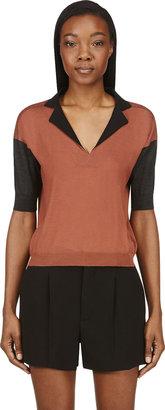 Marni Red & Black Cashmere V-Neck Sweater
