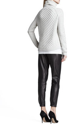 Vince Cable-Knit Turtleneck Sweater
