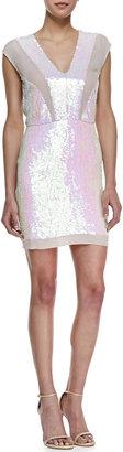 Nicole Miller Sleeveless Iridescent Sequin Cocktail Dress, Multicolor