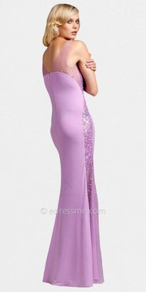 Mignon Sheer Beaded Side Panel Evening Dresses