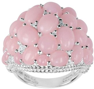 Judith Ripka Sterling Pink Opal & Diamonique Cluster Ring