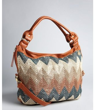 Big Buddha brown chevron rope and faux leather 'Courtney' shoulder bag