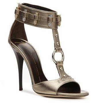 Giuseppe Zanotti Metallic Leather Zipper Sandal