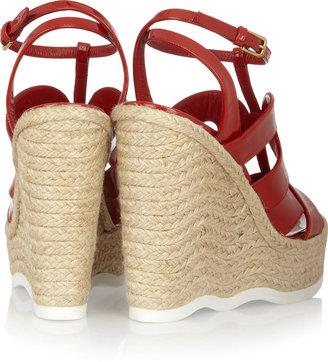 Yves Saint Laurent Saint Malo patent-leather wedge sandals