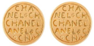 Susan Caplan Vintage 1990s Vintage Chanel Script Clip-on Earrings