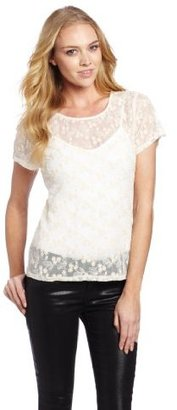 Velvet by Graham & Spencer Women's Embroidered Mesh Tee