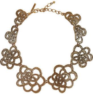 Oscar de la Renta Gold-plated flower necklace
