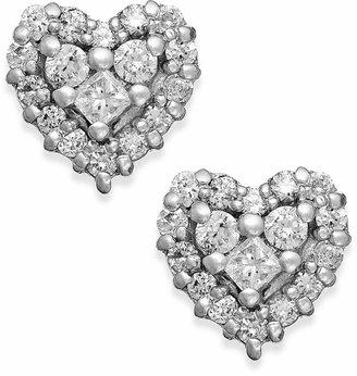 Effy Diamond Heart Stud Earrings in 14k White Gold (1/2 ct. t.w.)