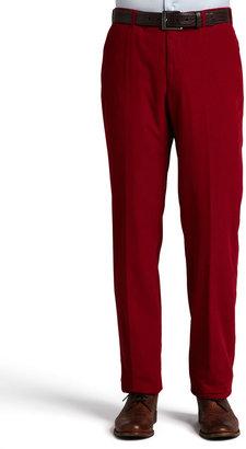 Incotex Corduroy Flat-Front Pants, Red