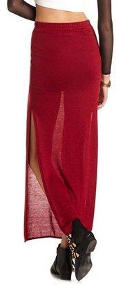 Charlotte Russe Side Slit Hacci Maxi Skirt
