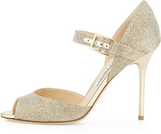 Jimmy Choo Lace Mary Jane Glitter Sandal, Pewter