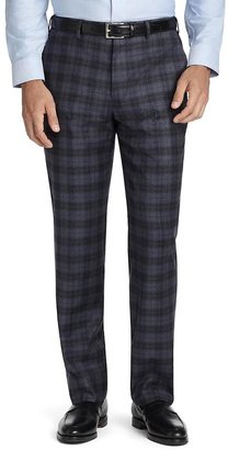 Brooks Brothers Fitzgerald Fit Plain-Front Plaid Dress Trousers