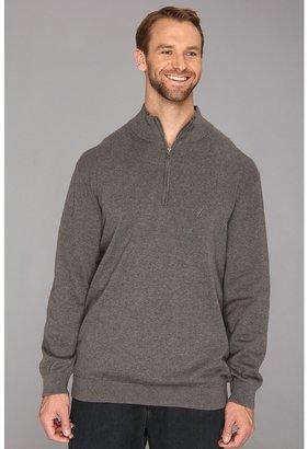 Nautica Big Tall 12-Gauge Cotton 1/4-Zip Sweater (Graphite Heather) - Apparel