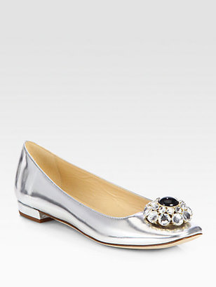Kate Spade Notion Bejeweled Metallic Leather Ballet Flats