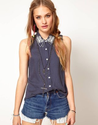 MinkPink Alice Blouse in Polka Dot with Embroidered Collar