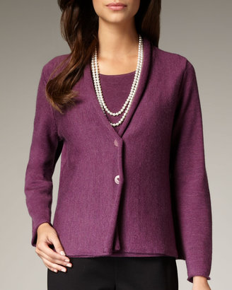 Eileen Fisher Washable-Wool Ribbed Jacket