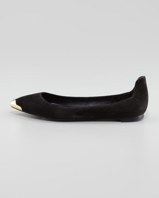Brian Atwood Violette Pointed-Toe Suede Flat, Black