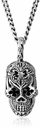 """King Baby Studio 24"""" Curb-Link Chain with Day Of The Dead Skull Pendant Necklace"""