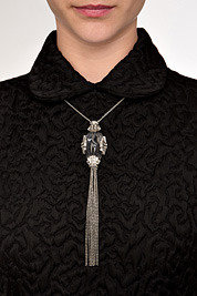Alexis Bittar Clear/Rhodium-Toned Teatro Moderne Fringed Necklace