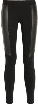 DKNY Leather-paneled stretch-jersey leggings