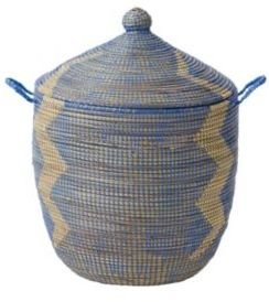 Senegalese Storage Basket Blue, Small