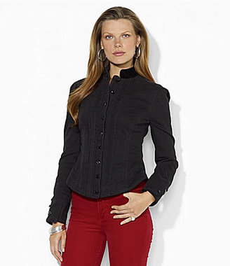 Lauren Ralph Lauren Velvet-Trim Mockneck Jacket