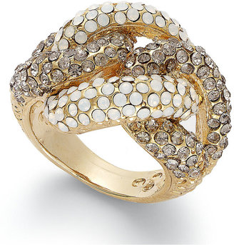 INC International Concepts Ring, Gold-Plated Two-Tone Glass Stone Twist Ring