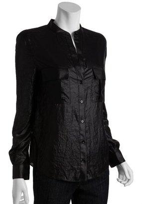 BCBGMAXAZRIA black shiny 'Anderson' nehru collar blouse