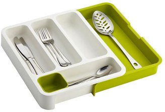 Container Store Expandable DrawerStoreTM Cutlery Tray Green & White