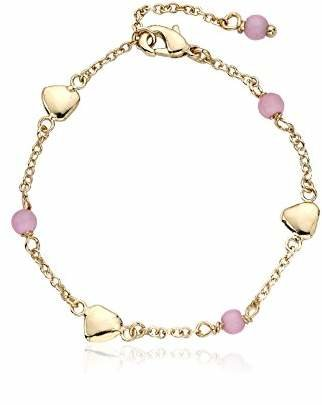 """Little Miss Twin Stars """"Cat-Eyed Bead"""" 14k Gold-Plated Beads and Heart Bracelet"""
