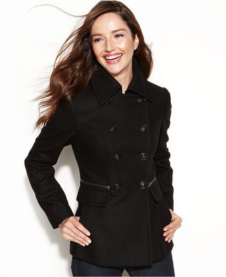 DKNY Coat, Double-Breasted Wool-Blend Pea Coat