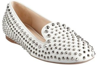 Prada white leather silver studded slip-on loafers